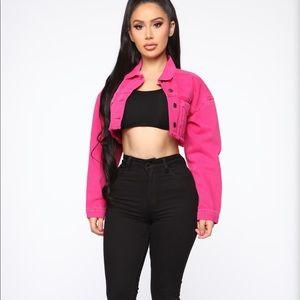Go getter neon pink denim jacket fashion nova
